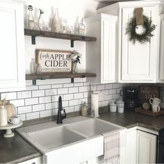 Kitchen Corner, Kitchen Shelves, Kitchen Reno, Kitchen Backsplash, Kitchen Countertops, New Kitchen, Concrete Countertops, Kitchen Remodeling, Floating Shelves In Kitchen
