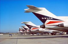 Vintage Delta 727s lined up. My first ever flight was on a 727.