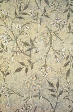 "heaveninawildflower: ""Jasmine block-printed wallpaper designed by William Morris (Details from Linda Parry, William Morris and the Arts and Crafts Movement: A Sourcebook, Wikimedia This work is based on a work in the public. William Morris Wallpaper, William Morris Art, Morris Wallpapers, William Morris Patterns, Vintage Wallpapers, Art Nouveau, Art Deco, Sleeping Beauty Wallpaper, Fabric Wallpaper"