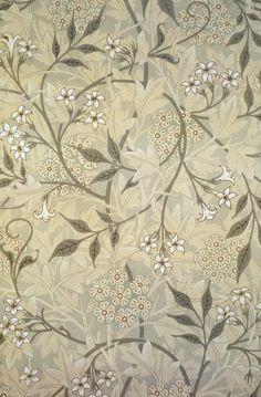 "Green & tan botanical ""Jasmine"" wallpaper (1875) by artist William Morris (1834-1896)."