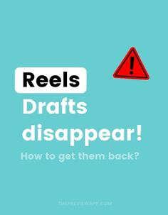 There's a strange thing happening on Instagram lately -- Reels Drafts disappear on some accounts. Maybe it happened to your account. If that's the case, the big question is: can you get them back? Learn why Instagram deletes Reels drafts, how to recover Instagram Reels drafts, and how to make sure your Reels drafts don't disappear again. #instagramtips #instagramstrategy #instagrammarketing #socialmedia #socialmediatips Creative Instagram Stories, Instagram Story Ideas, Latest Instagram, Instagram Tips, Social Media Tips, Social Media Marketing, How To Use Hashtags, Instagram Marketing Tips, Community Manager