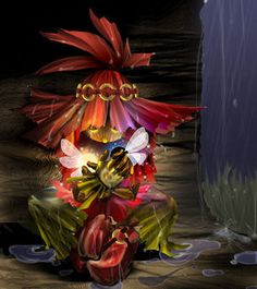 This is fan art from the scene when the skull kid makes friends with Tatle and Tael before the MM overtook him
