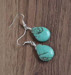 ON SALE  https://www.etsy.com/listing/90648538/turquoise-yoga-earrings-blue-stone-drop?ref=shop_home_active