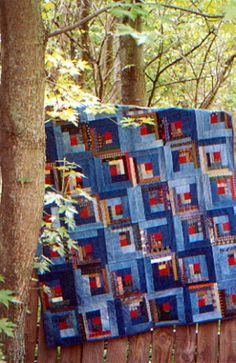 Country Threads :: Rotary Cut and Pieced Quilt Patterns :: Log Cabin Blue Jeans Quilt Pattern