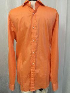 Ralph Lauren Black Label Luxurious Made In Italy Orange Dress Shirt Men's Sz 16 #RalphLauren