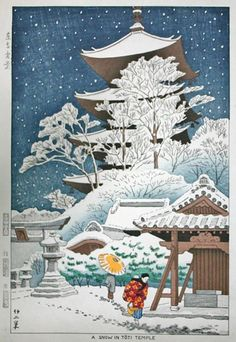 """""""Snow in Toji Temple"""" by Takeji Asano, 1953"""