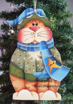 Handpainted Kitty Ornament by stephskeepsakes on Etsy, $7.50
