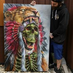 Awesome airbrush painting of Lion hunter done by artist Derek Turcotte from Canada