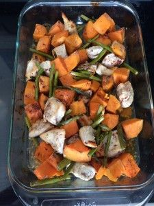 Sweet Chicken Bake  2-3 chicken breasts- cut into 1in cubes 3 Medium sweet potatoes- peeled and cut into 1in cubes 1 Bundle of asparagus- trimmed and cut in 1/2 1/2 cup of chicken broth 3 Tsp raw honey 2 Tbsp cinnamon