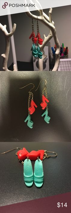 """Barbie shoe earrings Silver Dangly earrings made from 2 sets of originals Barbie shoes! Turquoise and coral. Handmade by local artist. 2.5"""" long. Barbie mules are .75"""" wide. Jewelry Earrings"""
