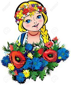 Ukrainian Rapunzel World Clipart, Holiday Pies, Ukrainian Art, Fairy Princesses, Naive Art, People Of The World, My Heritage, Girl Cartoon, Painted Rocks