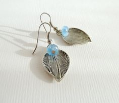 Leaf Earrings, Metal Earrings with Beads, Dangle Earrings, Silver Leaf Earrings, Silver Earrings, Earrings,Silver Blue Earring,Drop on Leaf on Etsy, £8.39