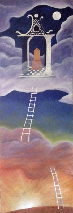 """Ladder to Upper World, by Lisa de St. Croix, oil on canvas, 72"""" x 24"""""""