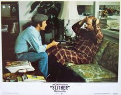 Slither Lobby Card #1, 1973, MGM, Condition NM-, size 11 x 14, stars James Caan, Peter Boyle, Sally Kellerman, Louise Lasser, Allen Garfield, and Richard B. Shull. Written by W. D. Richter. Directed by Howard Zieff. $10