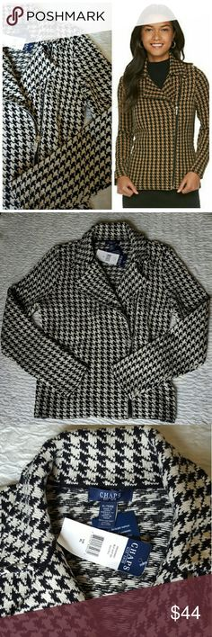 """Houndstooth Sweater Jacket - Chaps Stylishly sophisticated, you'll love the look and feel of this women's Chaps sweater jacket. In black & cream.   PRODUCT FEATURES Houndstooth pattern Asymmetrical zip front Long sleeves Combed cotton construction  Cotton Machine wash  Measurements laying flat: Width under the sleeves: 19"""" Length from top of shoulder: 24"""" Chaps Jackets & Coats"""