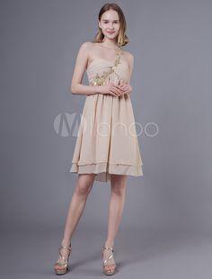 6356648b11c Robes de bal courtes robe de soirée de graduation en mousseline de soie  champagne