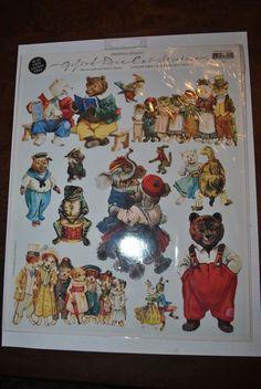 Vintage Gifted Line Die Cut Dressed Animals Stickers Borders 1997  John Grossman #GiftedLine