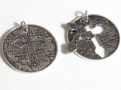 2 pieces - Lords Prayer antiqued silver tone cross charm pendant - BD567