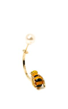 Shop Singular+Gold+Enamel+and+Pearl+Bee+Earring+by+Delfina+Delettrez+Now+Available+on+Moda+Operandi