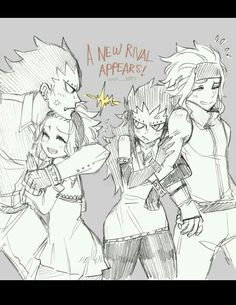 """I love how Gajeel and fem Gajeel are like """"Aww HELL NO"""" and both Levy's are like """"Take it easy there"""""""