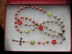 Custom Flower and Heart Themed Rosary FLOWERS- Pink, Purple, Green, Red or Yellow Great girl FIRST COMMUNION gift