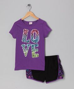Take a look at this Purple Cheetah 'Love' Tee & Shorts - Girls on zulily today!