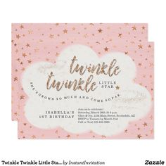Twinkle Twinkle Little Star Girls First Birthday Card Fluffy clouds and gold glitter in a sky of stars as a backdrop to invite your family and friends to your little girl's Twinkle Twinkle Little Star Themed 1st Birthday Party. Fun birthday party invites - customize your invitations.  #birthdayparty #invites #invitations - Affiliate ad link.
