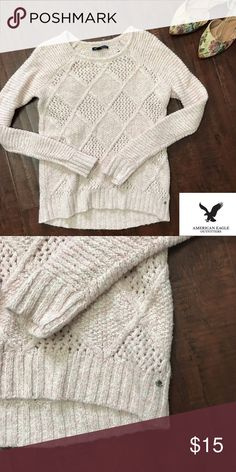 American Eagle | Pink Knit Sweater Preloved in excellent condition | light pink cable knit sweater | women's size XS American Eagle Outfitters Sweaters