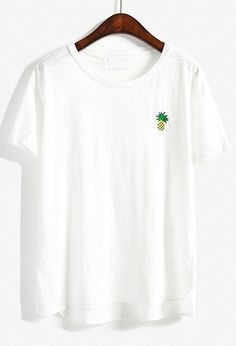Cute girls t shirt ,give her a gift lovely .White tops for girls with pineapple embroidered .Funny women tops ,adroable .