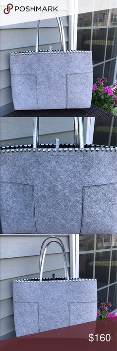 Tory Burch Block T Large Tote Bag Tory Burch Block T large tote bag in grey and silver. Used once in great like new condition! ✨✨ Tory Burch Bags Totes