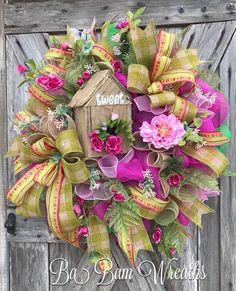 BaBamWreaths on Etsy Summer Door Wreaths, Easter Wreaths, Christmas Wreaths, Spring Wreaths, Flower Wreaths, Wreath Crafts, Diy Wreath, Wreath Ideas, Wreath Making