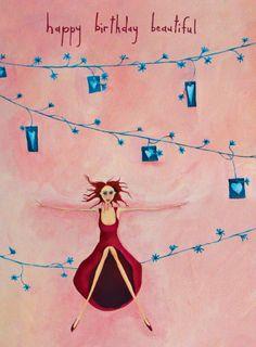 Happy Birthday Beautiful by Crispin Korschen - notecards Wellington School, Happy Birthday Beautiful, Texture Painting, Note Cards, Purple, Pink, Mad, Art Prints, Illustration