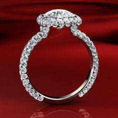 """Rachel"" Modern diamond pave halo engagement ring - BrilliantllyEngaged.com"