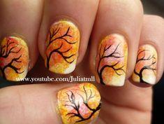 Japanese Tree Nail Art Autumn Fall Tutorial today's design inspiration