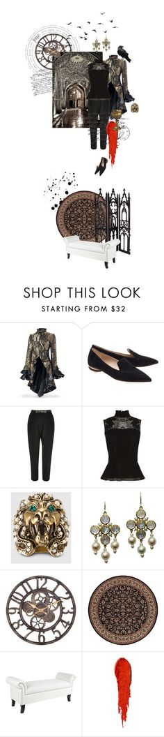 """""""It wouldn't surprise me that she had a time machine"""" by fsommerv ❤ liked on Polyvore featuring Nicholas Kirkwood, Karen Millen, Gucci, Assael, Couristan, Universal Lighting and Decor, NARS Cosmetics, women's clothing, women and female"""