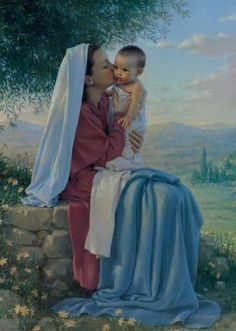 My Spirit Rejoices by Kathy Lawrence, painting of Baby Jesus and his tender and very loving mother Mary . Religious Pictures, Jesus Pictures, Blessed Mother Mary, Blessed Virgin Mary, Jesus E Maria, Queen Of Heaven, Mama Mary, Mary And Jesus, Daughters Of The King