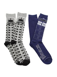 Doctor Who TARDIS Dalek Men's Crew Socks 2 Pack   Hot Topic