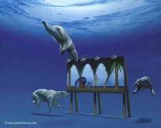 CLIMATE CHANGE - Oil on canvas by Pascal Lecocq The Painter of Blue  61x76cm 24x30 2009. lec801. Private collection Dale City VA.Prints on paper or canvas available.  pascal lecocq #billboard #bear #globalwarming #art #blue #painterofblue #painting #painter #artist #pascallecocq #contemporaryartcurator #artstack #artisticallysocial #in #pint  Published in Ocean Geographic (Australia 2010) Chefs-doeuvre/masterpieces by Pascal Lecocq (Usa 2011).