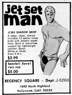 1968 Vintage Advert for Jet Set Man mens underwear A sheer, sheer almost invisible 15 denier nylon brief with shadow panel front. Built in masculine support for light weight comfort. Blick white or nude.