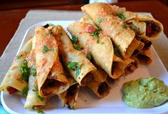 Guy Fieri Recipe | Chicken Taquitos - veganized