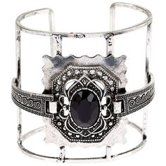 Silver Grunge Gem Cuff ($15) ❤ liked on Polyvore featuring jewelry, bracelets, silver jewelry, cuff bracelet, silver cuff bangle, gemstone jewelry and silver bangles