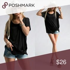 🌺 Short Sleeve Gathered Side Top Soft comfortable and flattering, this loose-fitting black top has short sleeves and gathers at the side. Looks great on. True to size but loose-fitting. Dress up or down. Great summer top! 😊🛍 Tops Tees - Short Sleeve