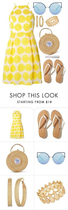 """""""Under the sun"""" by devonkathleenallen ❤ liked on Polyvore featuring Dorothy Perkins, Hollister Co., Matthew Williamson, GUESS, INC International Concepts, Chantecaille, yellowdress and under100"""