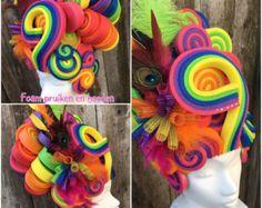 Rainbow foam wig, drag wig