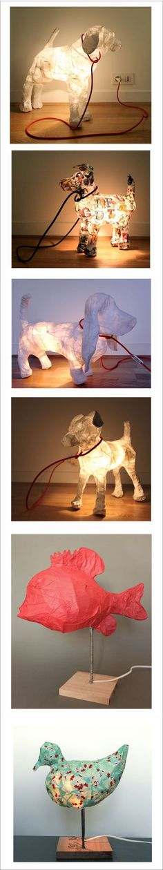 animal-shaped paper lamps – great for those who want a dog but cant have one, or want a guard dog to watch over them at night!