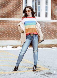 The Spring Trend You Can Start Wearing Right Now Westchester County-Striped Sweater-Rainbow Sweater-Gucci Belt-I Am Gia-Teddy Bear Coat