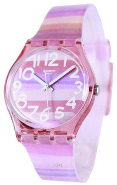 Features: Pink Plastic Case Pink (Shaded Stripe) Plastic Strap Swiss Quartz Movement Plastic Crystal Pink (Shaded Stripe) Dial Pull/Push Crown Solid Case Back Tang Clasp Water Resistance Approximate Case Diameter: Approximate Case Thickness: Pink Plastic, Plastic Case, Krystal, Swatch, Bracelet Watch, Quartz, Crown, Unisex, The Originals