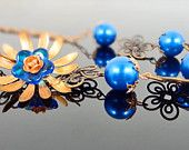 Royal Blue and Copper Filligree Flower and Pearl Chain Necklace