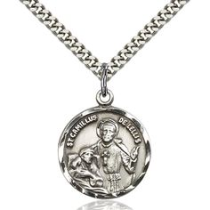 Sterling Silver St. Camillus of Lellis Pendant 7/8 x 3/4 inches with Heavy Curb Chain ** Learn more by visiting the image link. (This is an affiliate link and I receive a commission for the sales)