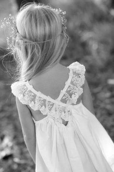 lacy back crisscross on flower girl dress